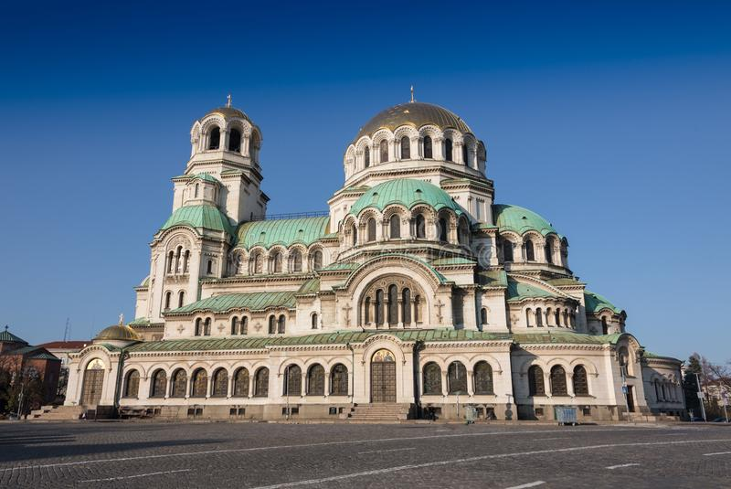 Bulgarian Orthodox cathedral dedicated to Saint Alexander Nevsky, in Sofia.  royalty free stock photo