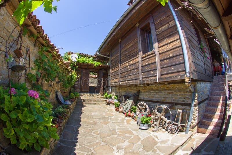 Bulgarian rural courtyard tavern stock image