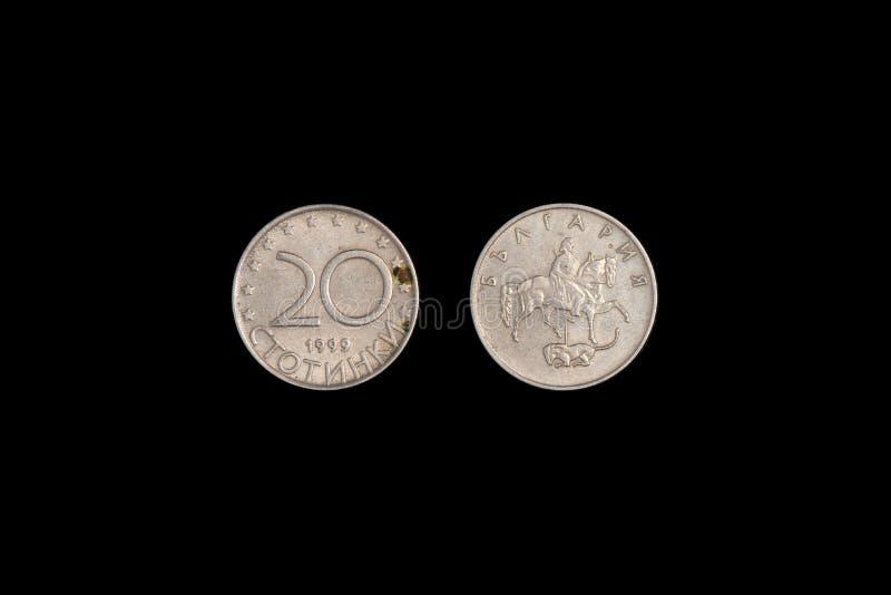 20 bulgarian stotinki coin 1999 isolated on black background. close-up. 20 bulgarian stotinki coin 1999 isolated on black background royalty free stock photography