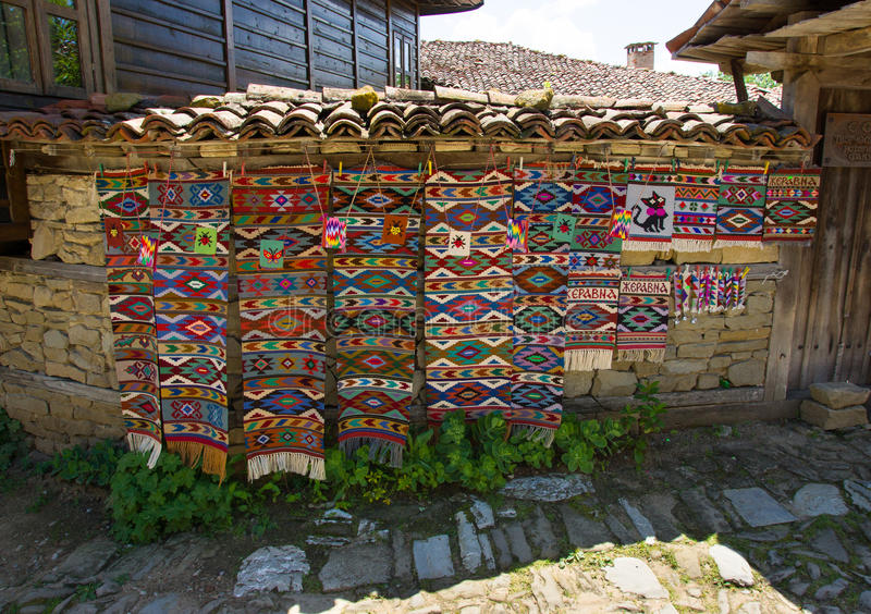 Bulgarian traditional handmade carpets stock photo
