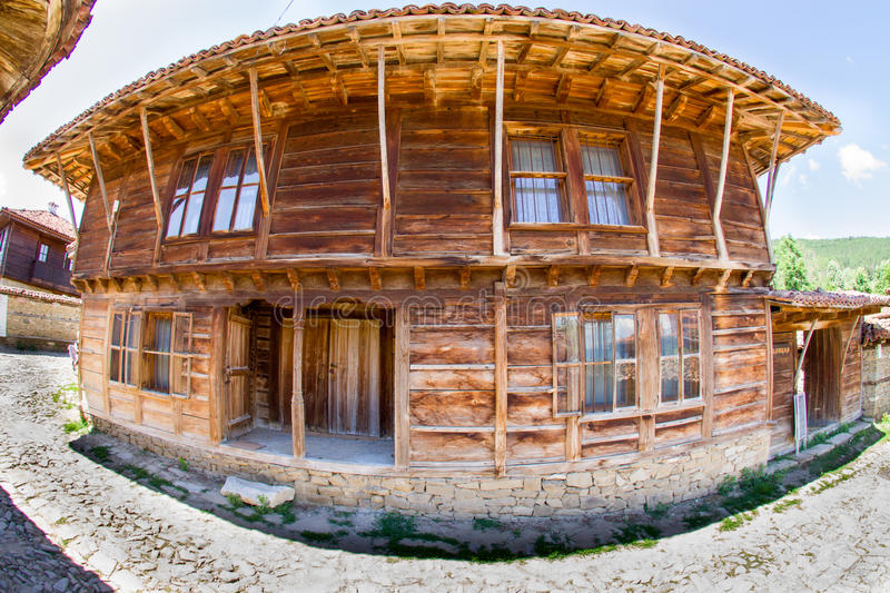 Bulgarian traditional wooden architecture stock photo