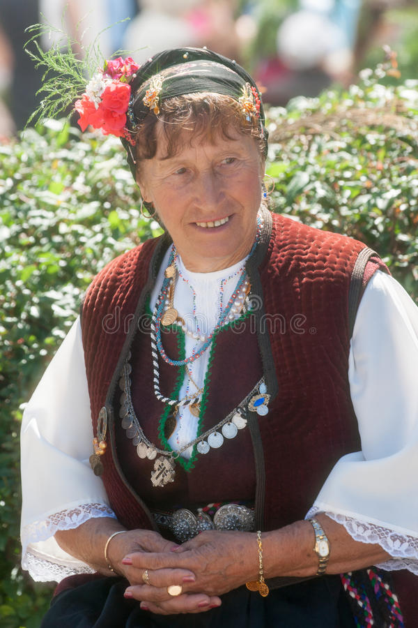Bulgarian woman on national jewelry stock photos