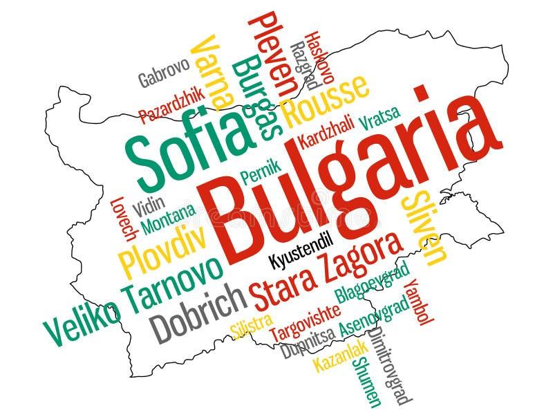 Bulgarienöversikt och städer vektor illustrationer