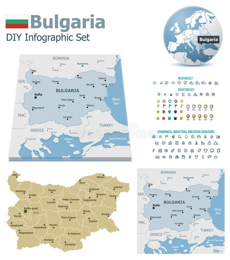 Bulgarienöversikter med markörer royaltyfri illustrationer