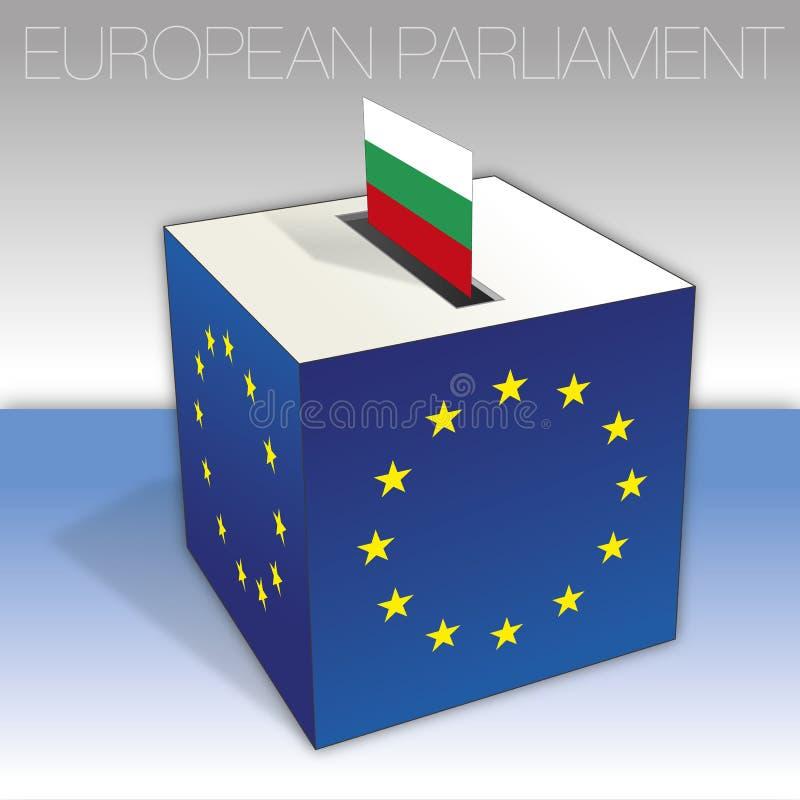 Bulgarien, val för europeisk parlament, valurna och flagga stock illustrationer