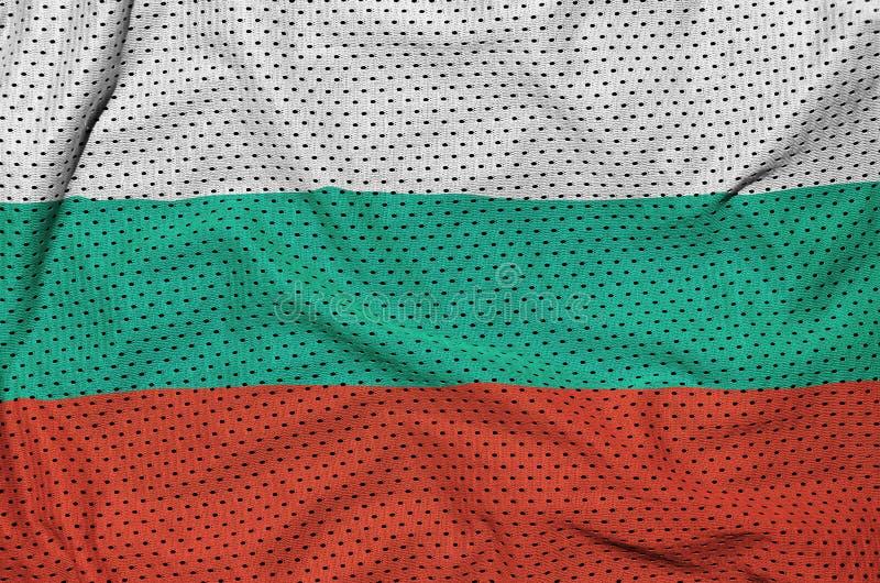 Bulgarienflagga som skrivs ut på en fabri för ingrepp för polyesternylonsportswear arkivbilder