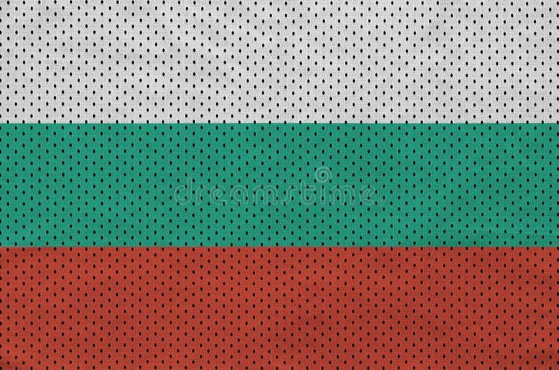 Bulgarienflagga som skrivs ut på en fabri för ingrepp för polyesternylonsportswear arkivbild