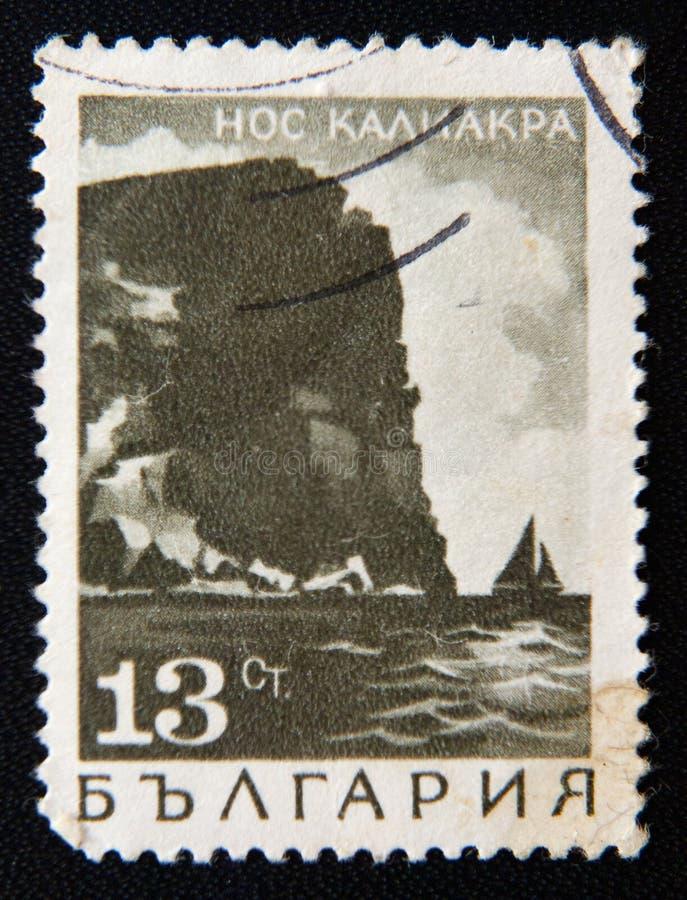 BULGARIENstämpeln visar Kaliakra udde, circa 1975 arkivfoto