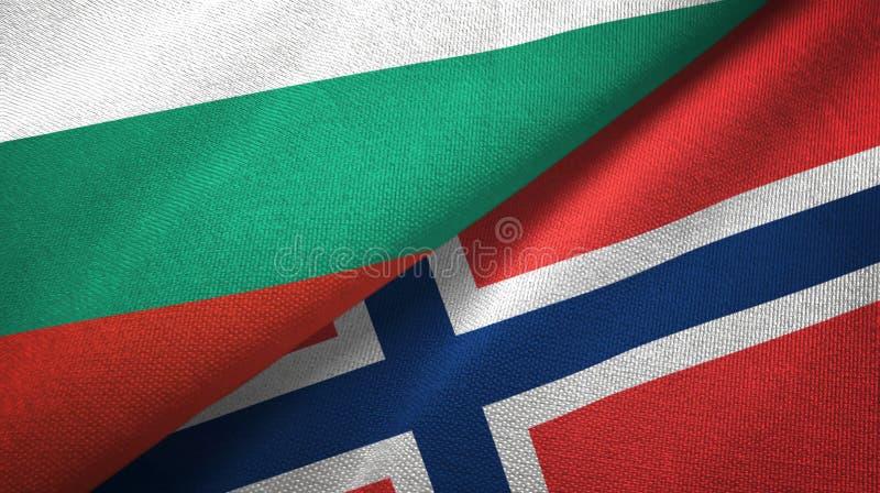 Bulgarije en Noorwegen twee vlaggen textieldoek, stoffentextuur vector illustratie