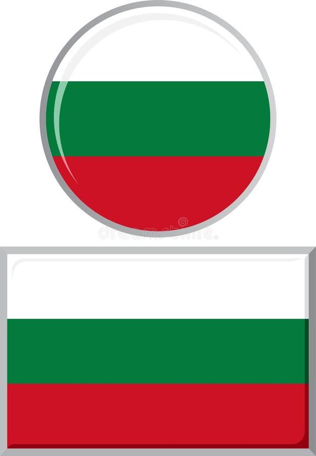 Bulgarisch um und quadratische Ikonenflagge Vektor vektor abbildung