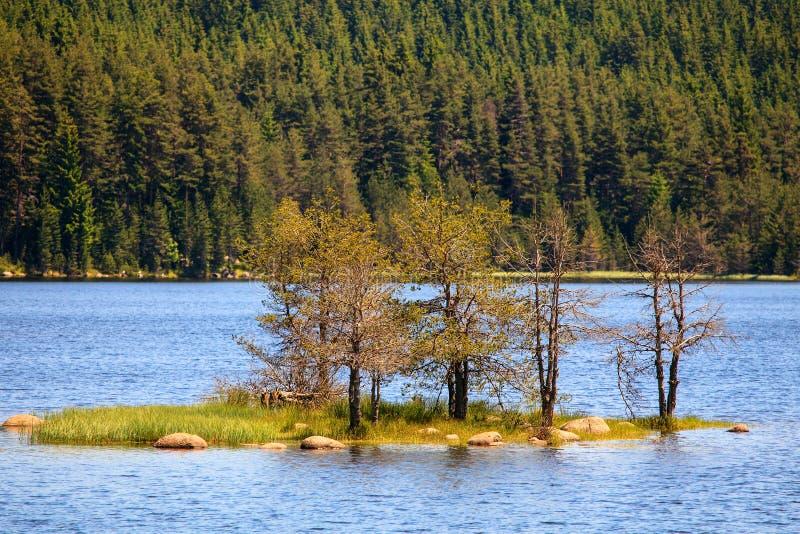 Bulgarische Landschaft mit kleiner Insel stockfotos