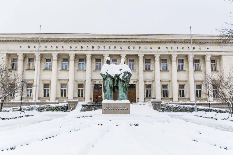 Bulgarische Nationalbibliothek und momument von Cyril und von Methoduis lizenzfreies stockfoto