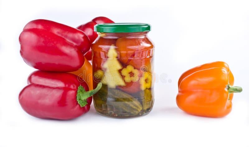 Bulgarisk peppar, inlagda gurkor och tomater royaltyfri fotografi