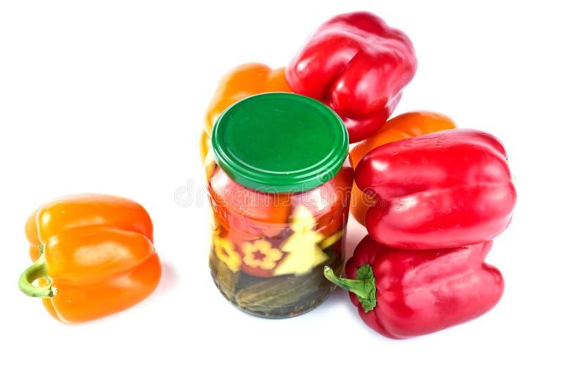 Bulgarisk peppar, inlagda gurkor och tomater royaltyfria foton