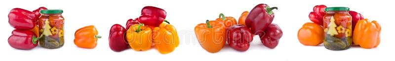 Bulgarisk peppar, inlagda gurkor och tomater collage royaltyfri fotografi