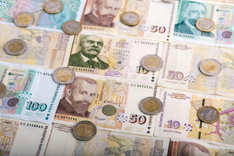Bulgarisk valuta BGN - lev och mynt fotografering för bildbyråer