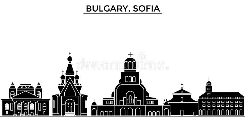 Bulgary, horizon van de de architectuur de vectorstad van Sofia, reiscityscape met oriëntatiepunten, gebouwen, isoleerde gezichte vector illustratie