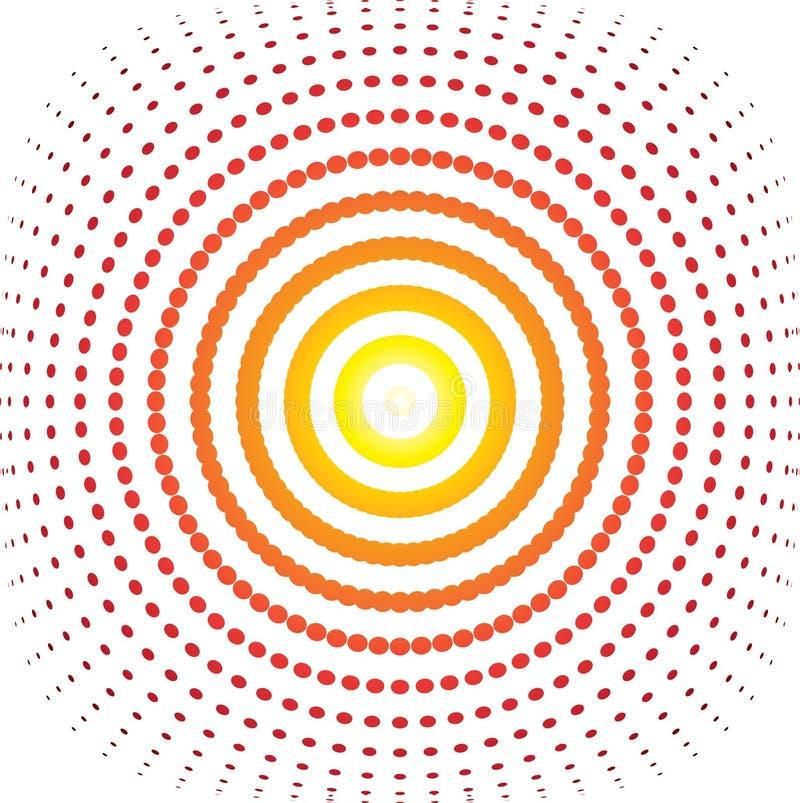 Bulge targe. Illustrated bulge target with a warm rainbow design stock illustration
