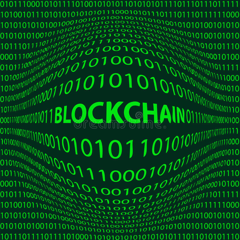 Bulge word Blockchain. Concept Blockchain, matrix style background with a bulge word Block chain in the foreground and crumbling the numbers one and zero, the vector illustration
