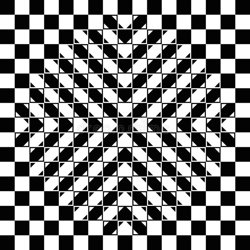 Bulging checkerboard optical illusion. Bulging checkerboard illusion. The checkerboard is fully regular, each check is a regular square and the bulge is a vector illustration