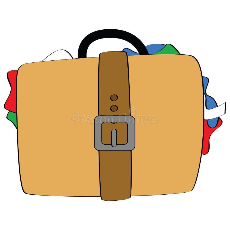 Bulging luggage royalty free illustration