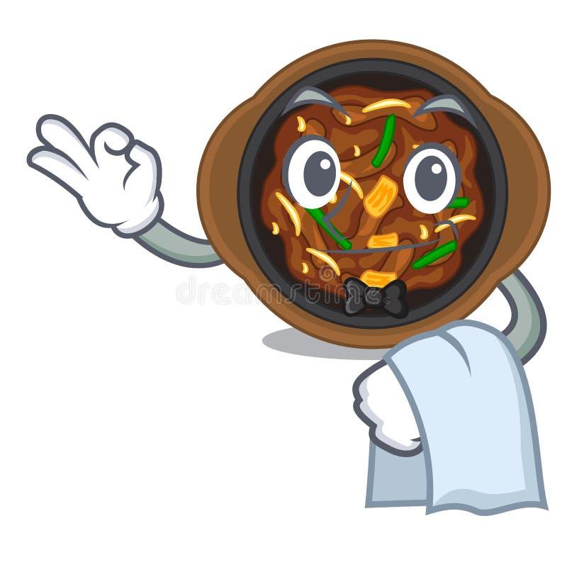 Bulgogi официанта в форме мультфильма a иллюстрация вектора