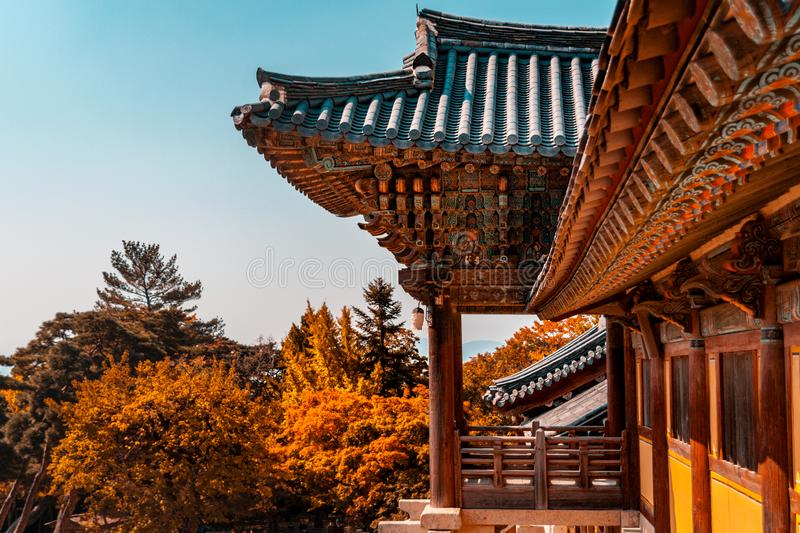 Bulguksa buddhist temple in Gyeongju, South Korea. In 1995 was added to the UNESCO World Heritage List, ref 736. Teal and orange look royalty free stock photos