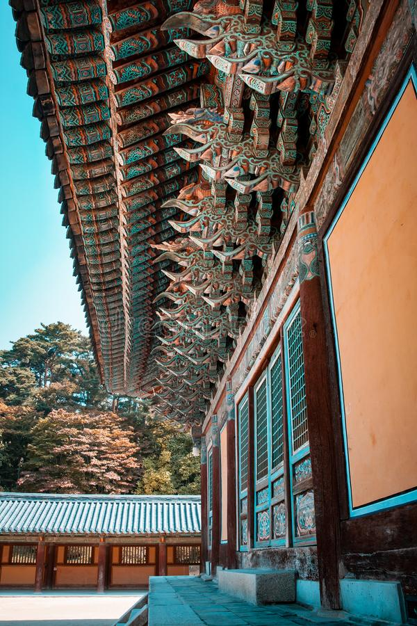 Bulguksa buddhist temple in Gyeongju, South Korea. In 1995 was added to the UNESCO World Heritage List, ref 736. Teal and orange look stock image