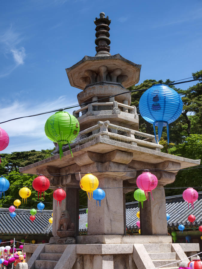 The Bulguksa Temple for celebrating Buddhas birthday, South Korea. royalty free stock photography