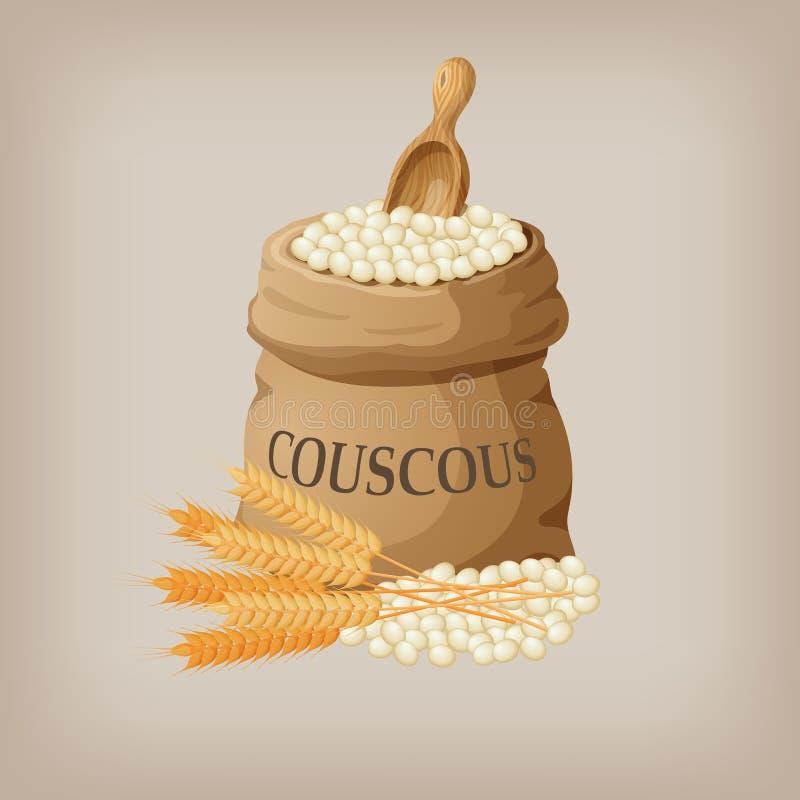 Bulgur lub couscous w burlap torbie również zwrócić corel ilustracji wektora ilustracja wektor