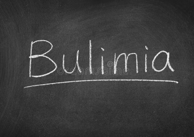 Bulimia. Concept word on a blackboard background royalty free stock image