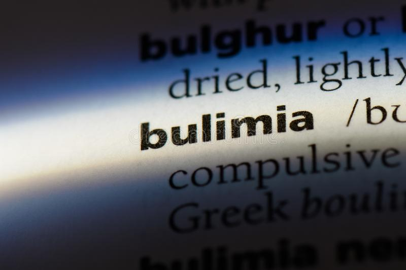 Bulimia. Word in a dictionary.  concept stock photography