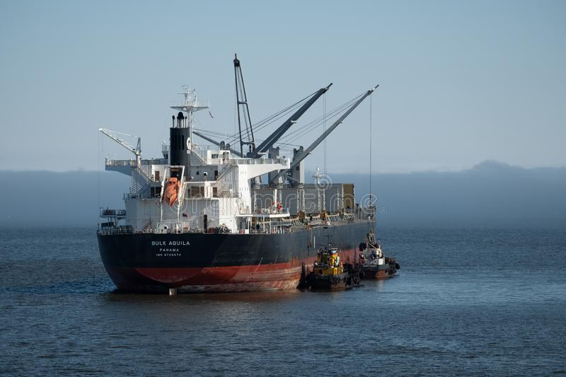 The Bulk Aquila bulk carrier is loaded by coal on anchorage of the port Beringovskiy stock image