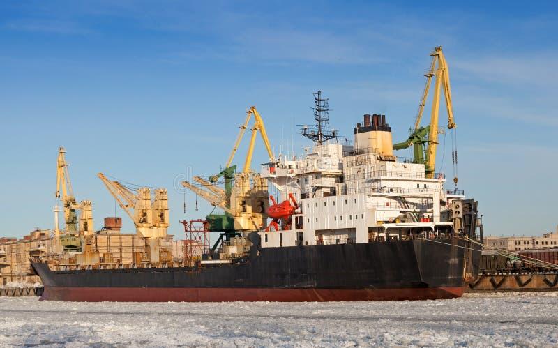 Bulk Cargo Ship Loading In Winter Port Stock Photography