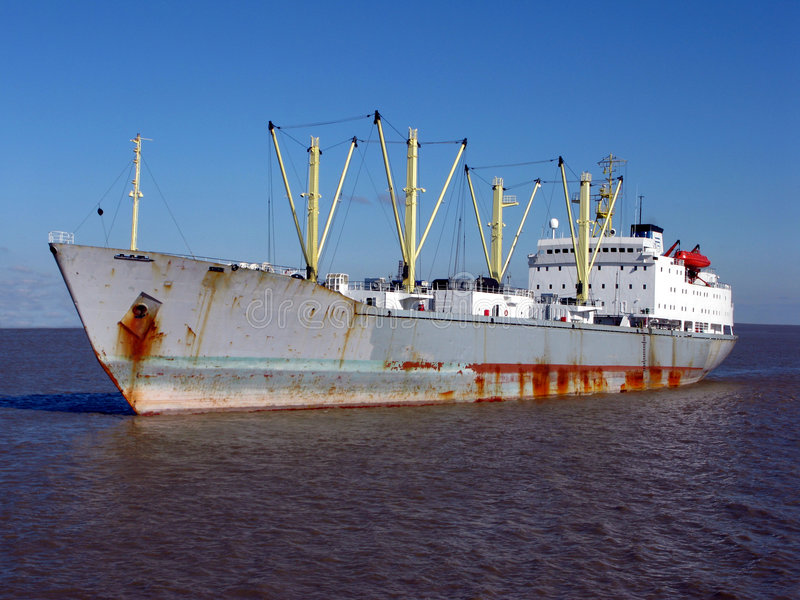Bulk Carrier Cargo Ship Boat Sailing on Calm Water