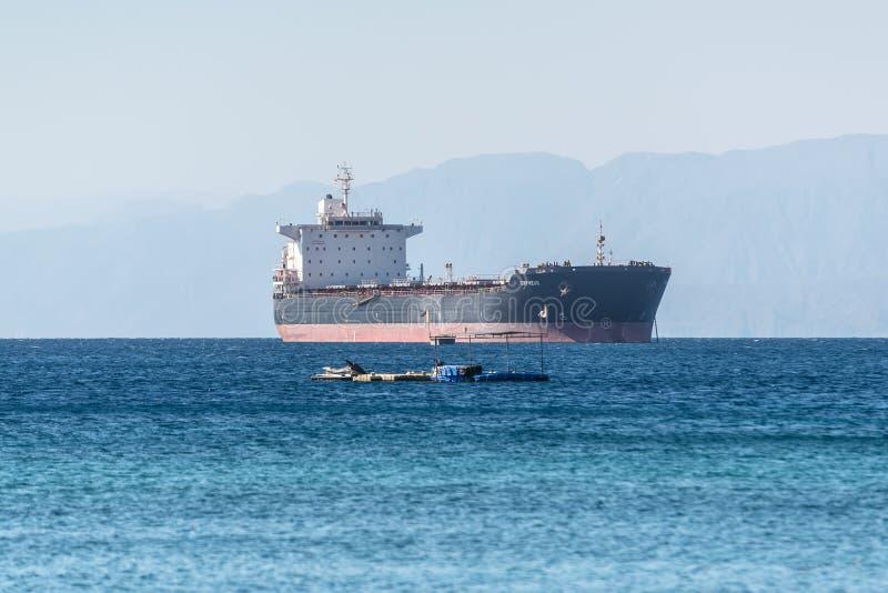 Bulk Carrier Vessel Orpheus at the Gulf of Aqaba, Jordan stock photos