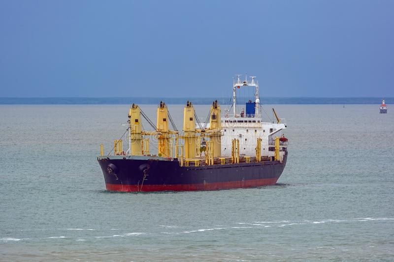 Bulk carrier vessel at sea. stock images