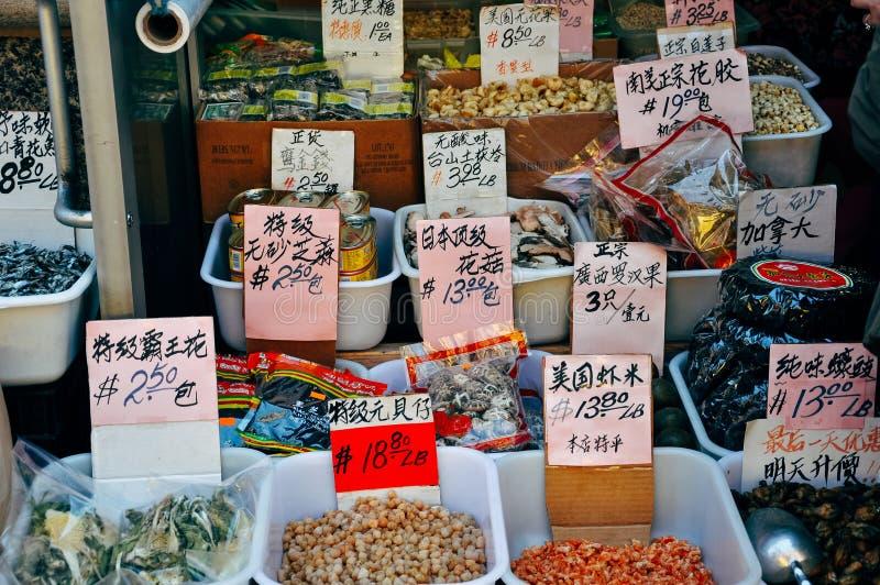 Bulk food at the street market in China Town, Manhattan. royalty free stock photo