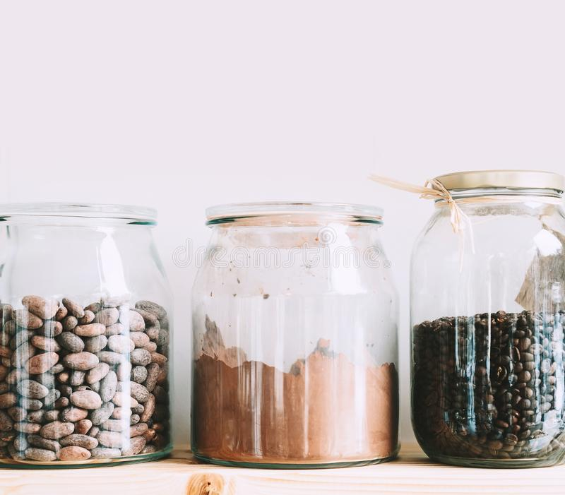 Bulk foods storage at low zero waste lifestyle royalty free stock image