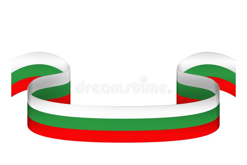 Ribbon in the colors of the Bulgarian flag on a white background vector illustration