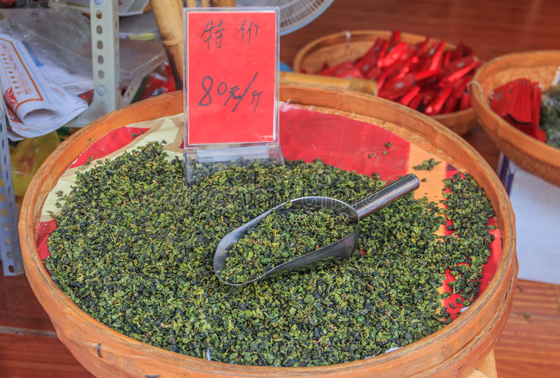 Bulk tea for sale at the market in China royalty free stock photography