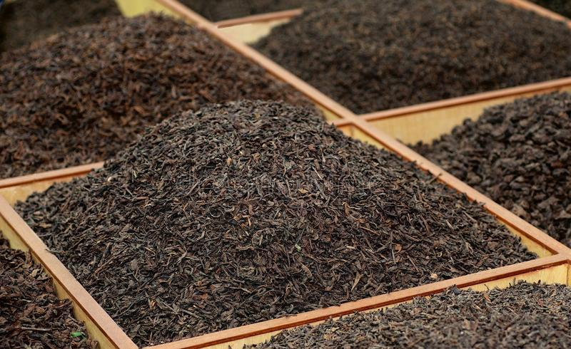 Bulk tea on the Tea Market. In China stock image