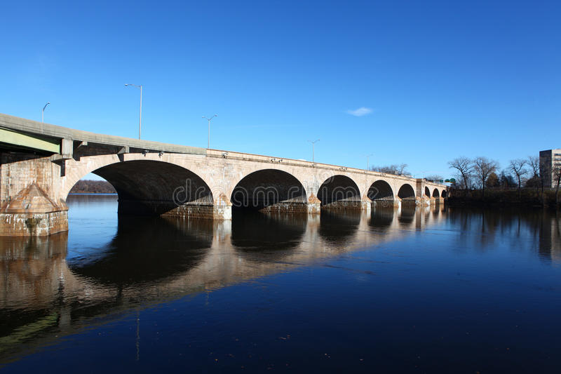 The Bulkeley Bridge in Hartford, Connecticut royalty free stock photography