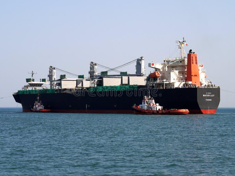 Bulkladungs-Schiffs-Hafen-Manöver lizenzfreie stockfotos