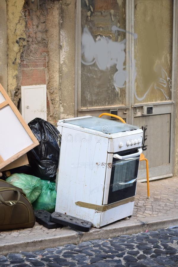 Bulky waste on the street stock photos