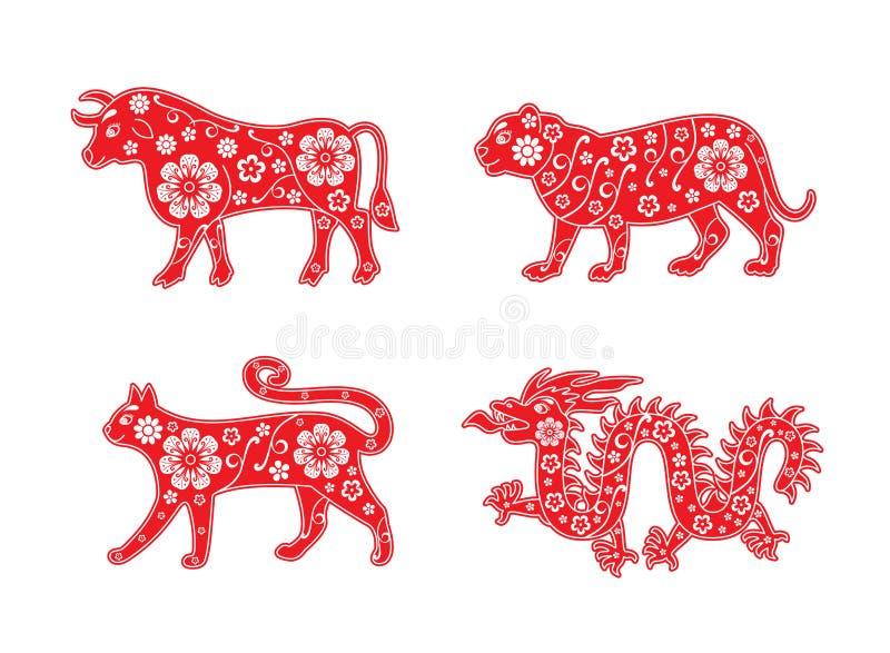 Bull και τίγρη, γάτα και δράκος 2024, 2023, 2022 και 2021 Κόκκινη διακόσμηση λουλουδιών ελεύθερη απεικόνιση δικαιώματος