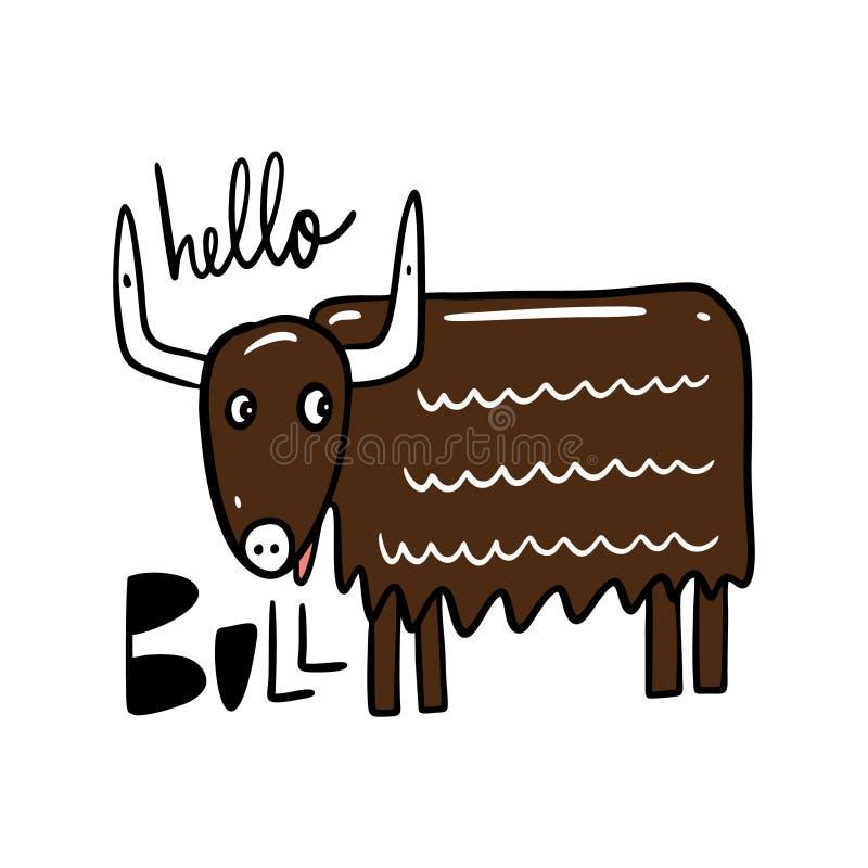 Bull στο ύφος κινούμενων σχεδίων E ελεύθερη απεικόνιση δικαιώματος