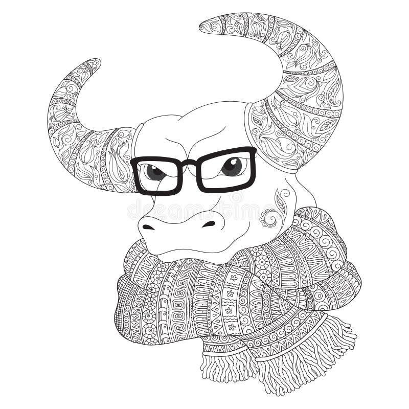 Bull в шарфе и стеклах иллюстрация вектора