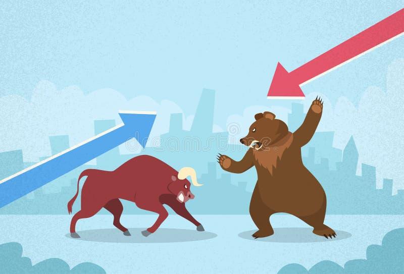 Bull против финансов концепции фондовой биржи медведя иллюстрация вектора