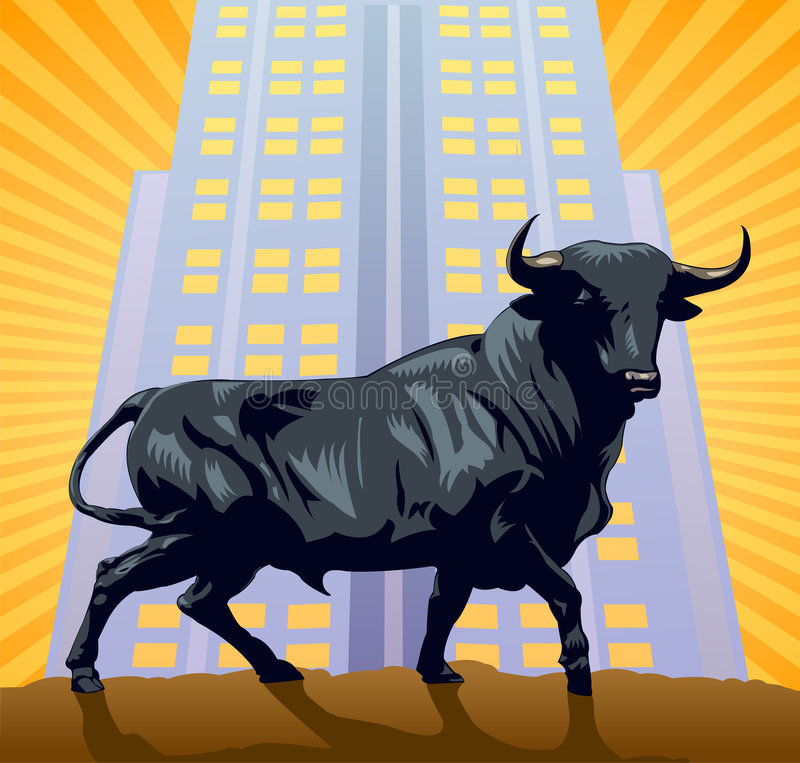The Bull. The symbol of wall street over a building and sunburst